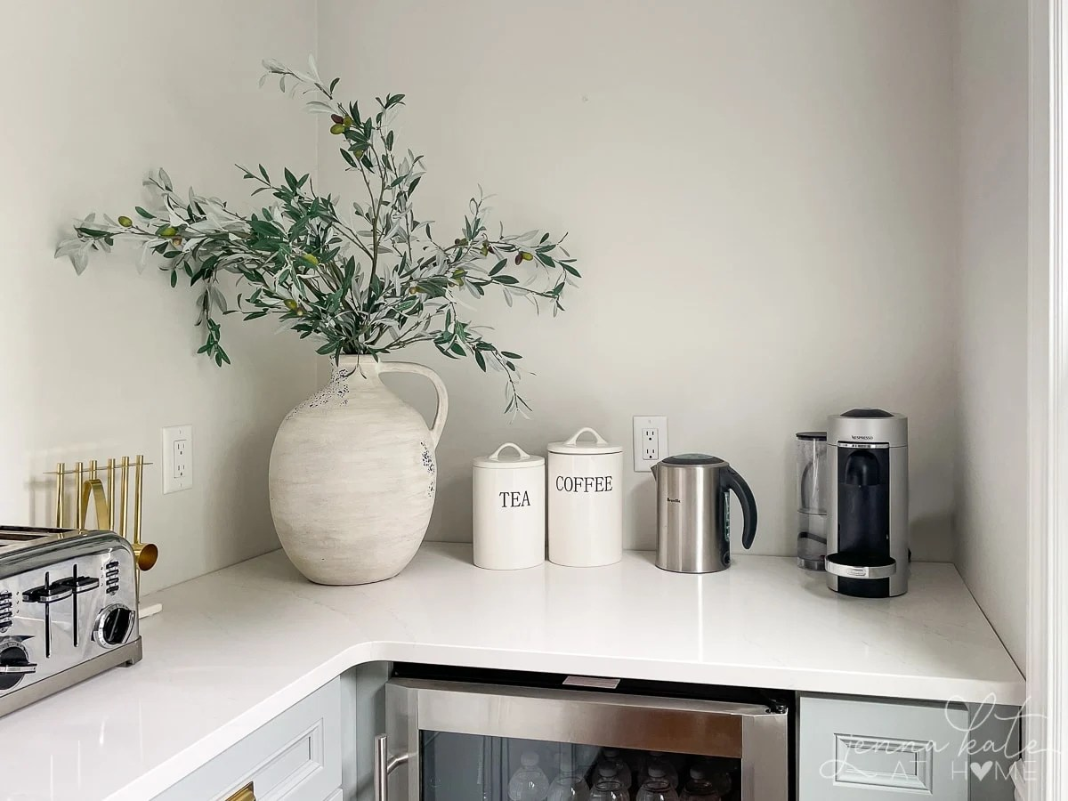 Pantry countertops and coffee and tea appliances
