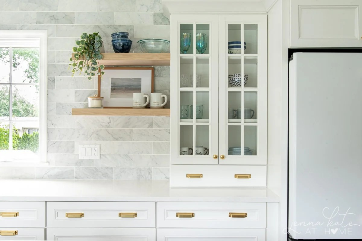 floating kitchen shelves and countertop cabinet