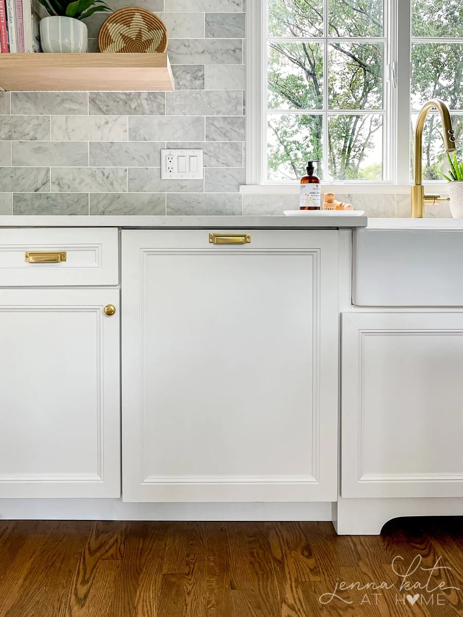 integrated dishwasher with matching cabinet panel