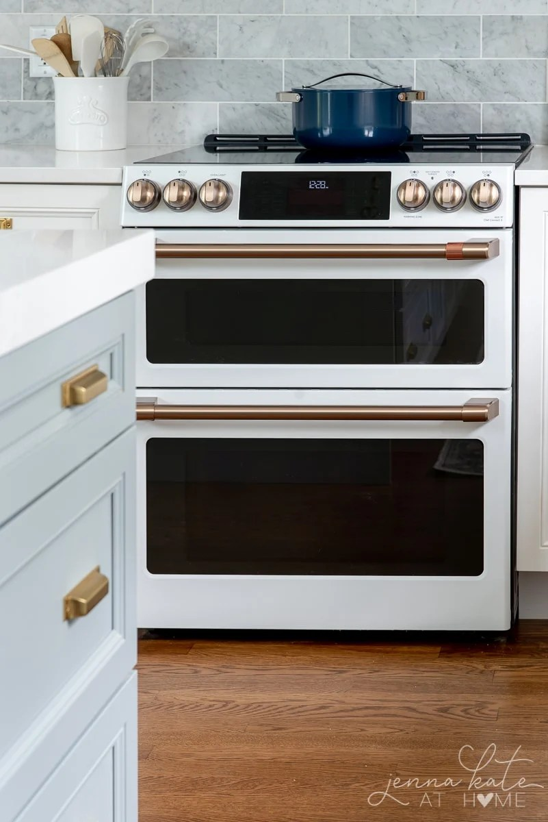 GE cafe double electric oven in matte white