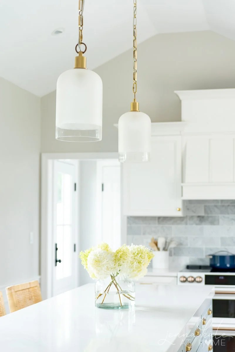 Serena and Lily Westbrooke pendants over kitchen island