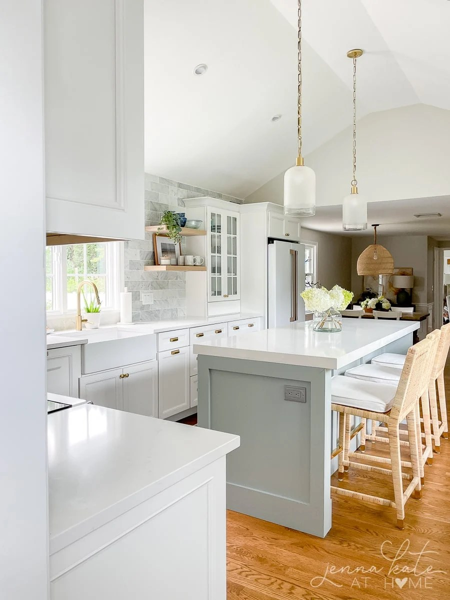 view of pendant lights over kitchen island