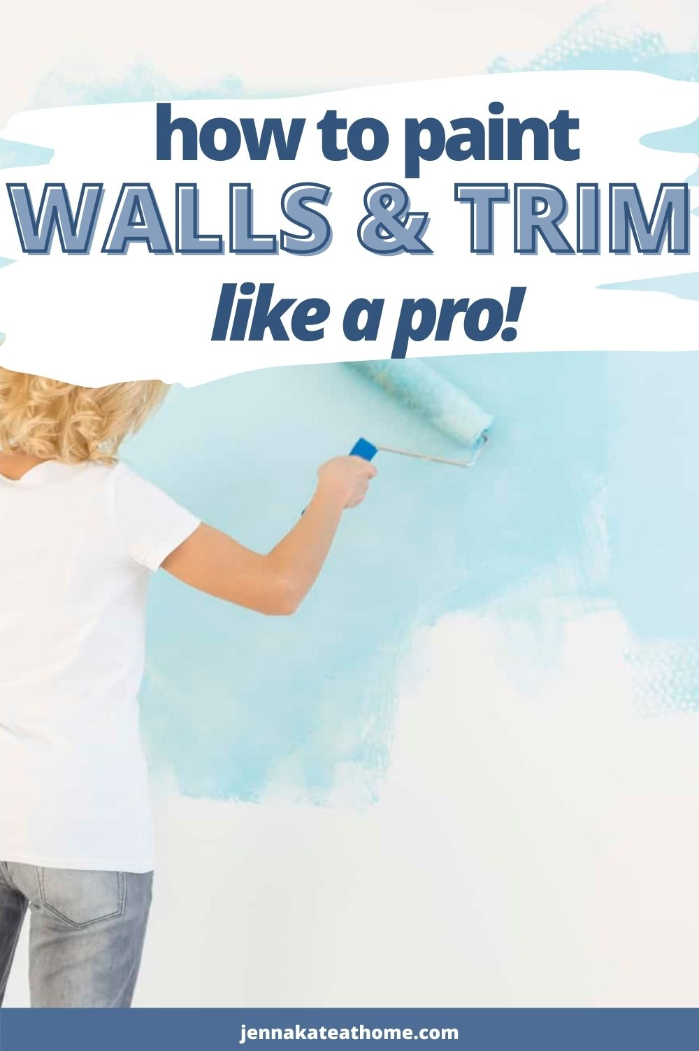 how to paint walls and trim pin image