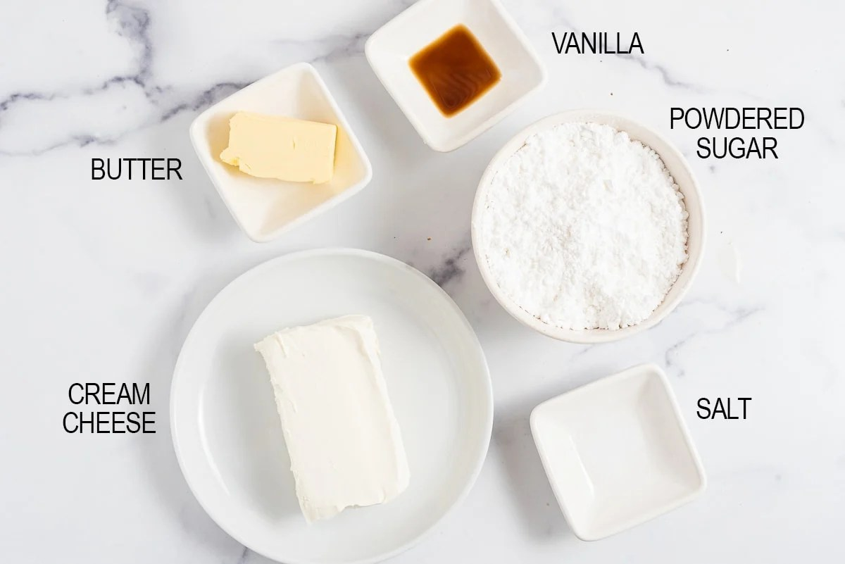 ingredients for the cream cheese frosting