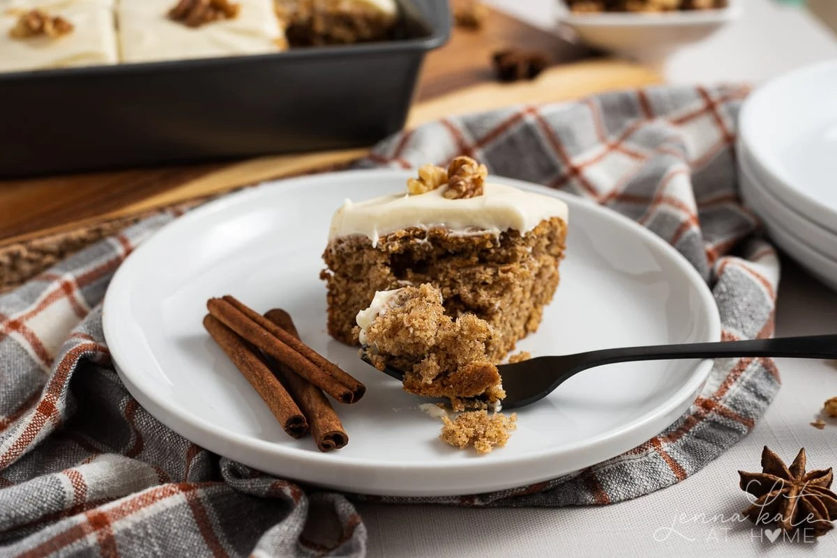 fork digging into slice of old fashioned spice cake