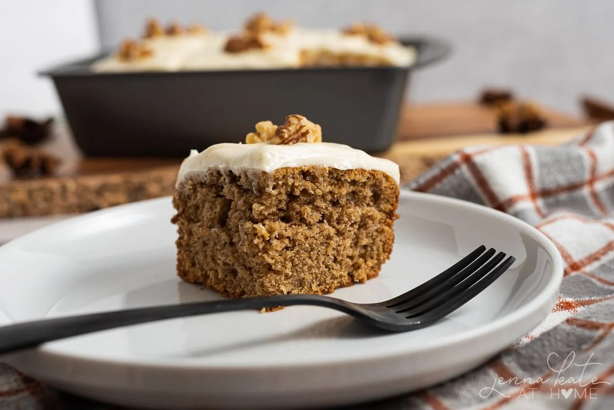 slice of old fashioned spice cake on a plate with a fork
