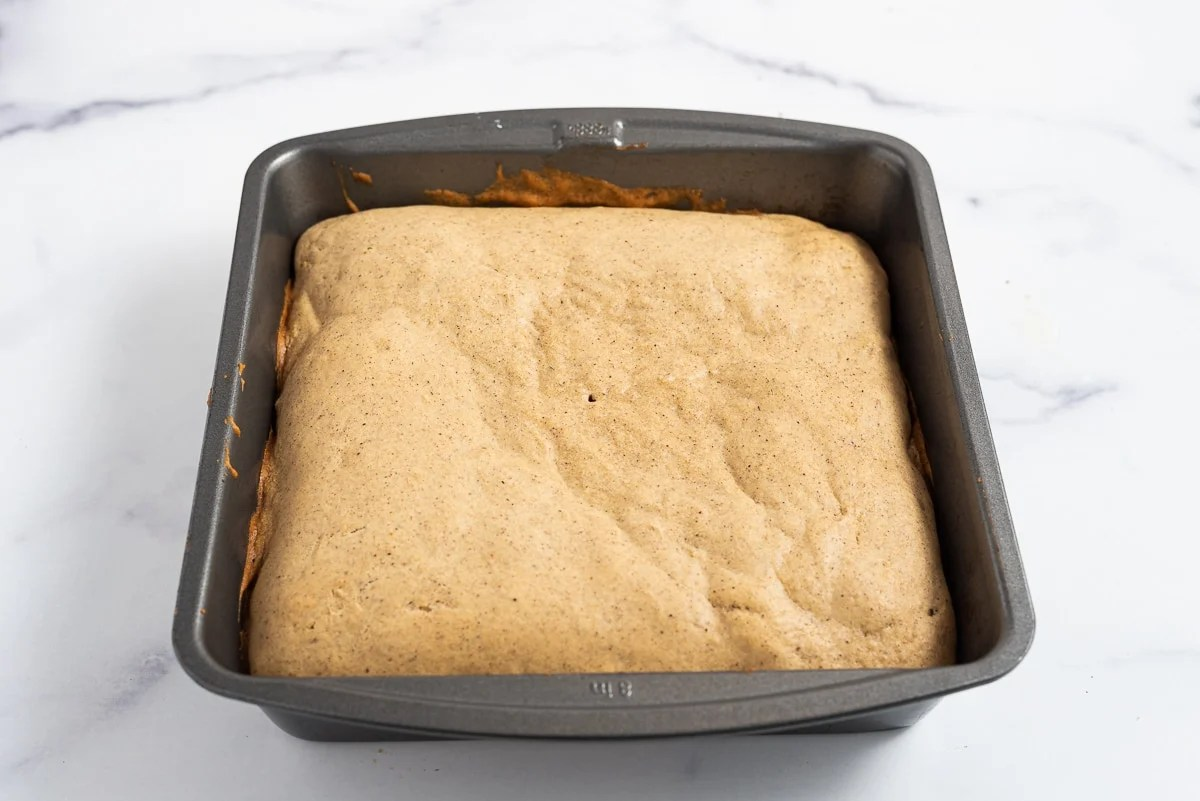 spice cake when it comes out of the oven and is golden brown on top