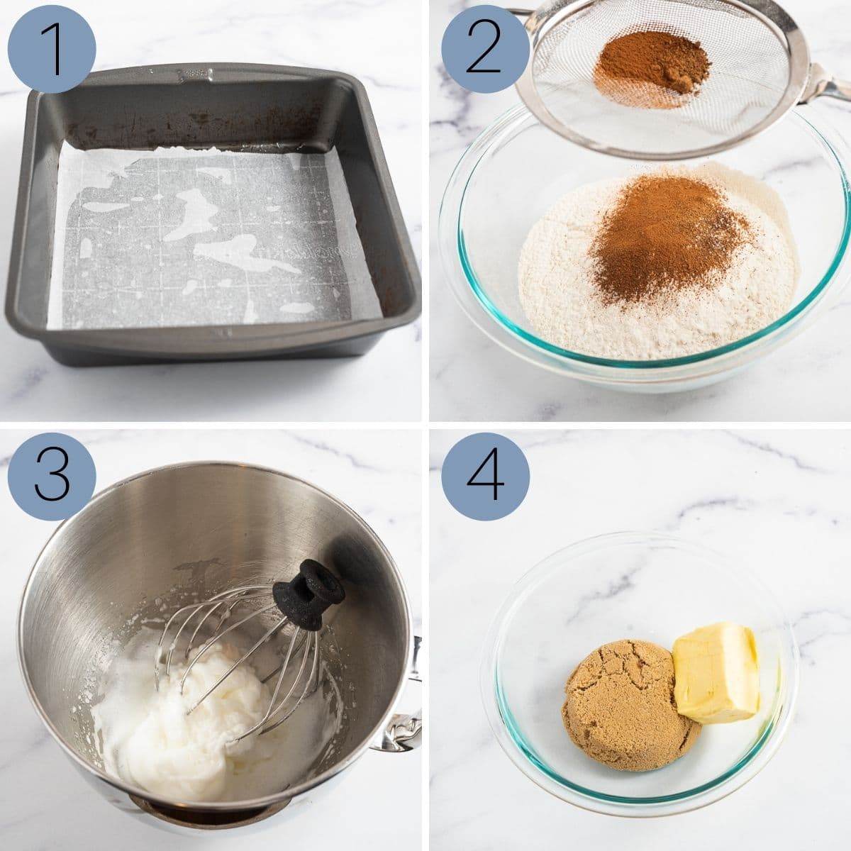 steps 1 to 4 of making the spice cake recipe