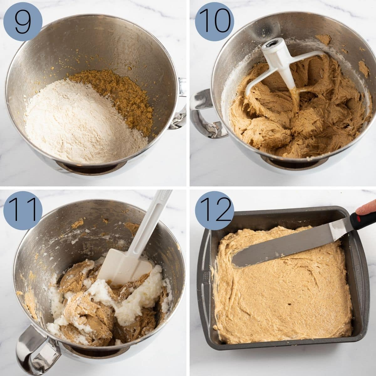 steps 9 to 12 of making the spice cake recipe