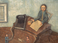 At the Writing Table, 18th-century painting