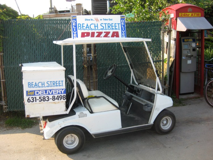 Pizza delivery golf cart on Fire Island