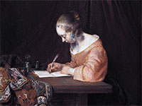 """""""Woman Writing a Letter"""" by Gerard ter Borch"""