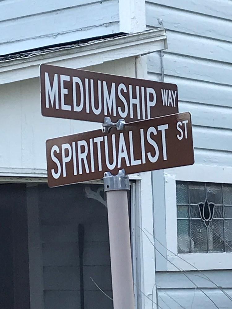 The intersection of Mediumship Avenue and Spiritualist Street in Cassadaga, Florida