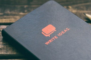 """Black book with """"Write Ideas"""" on the cover"""