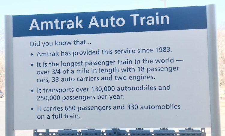 Amtrak Auto Train sign with statistics