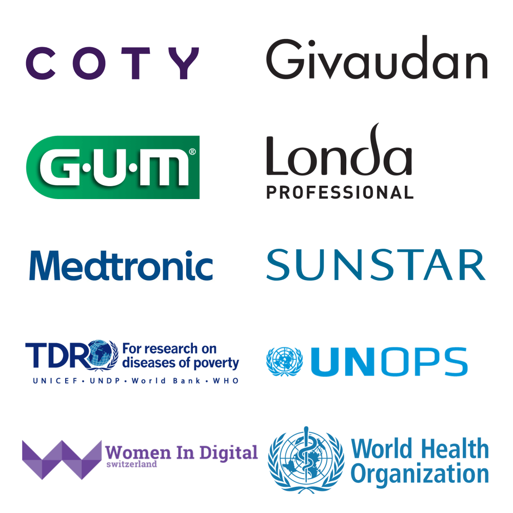 Coty, Givaudan, GUM, Londa Professional, Medtronic, Sunstar, TDR, UNOPS, Women in Digital Switzerland, World Health Organization