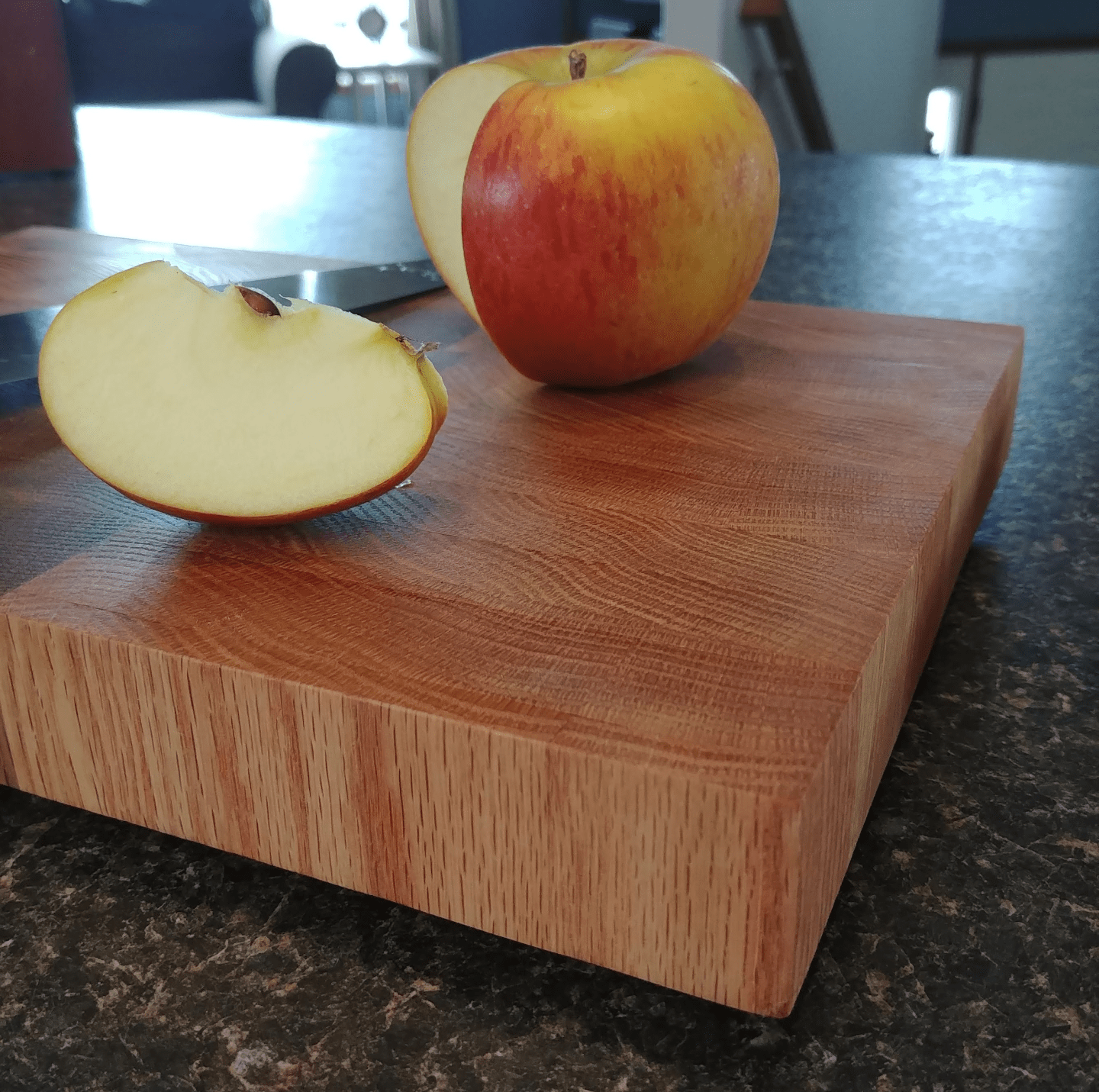 This is an end-grain cutting board that we made for a friend with some matching oak end-grain coasters.