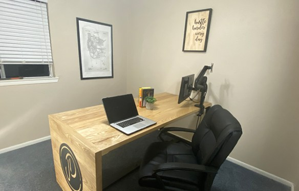We built this solid ash and poplar desk for our office.