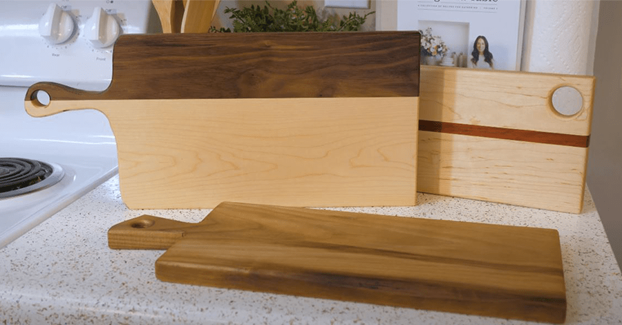 These are the three serving board prototypes we decided on for our woodworking business.