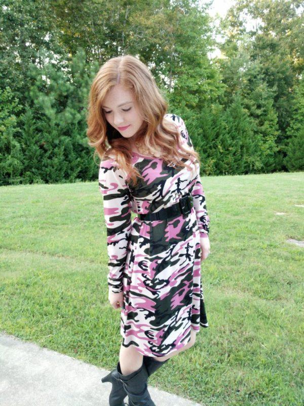 Pink, green, and tan camo print dress