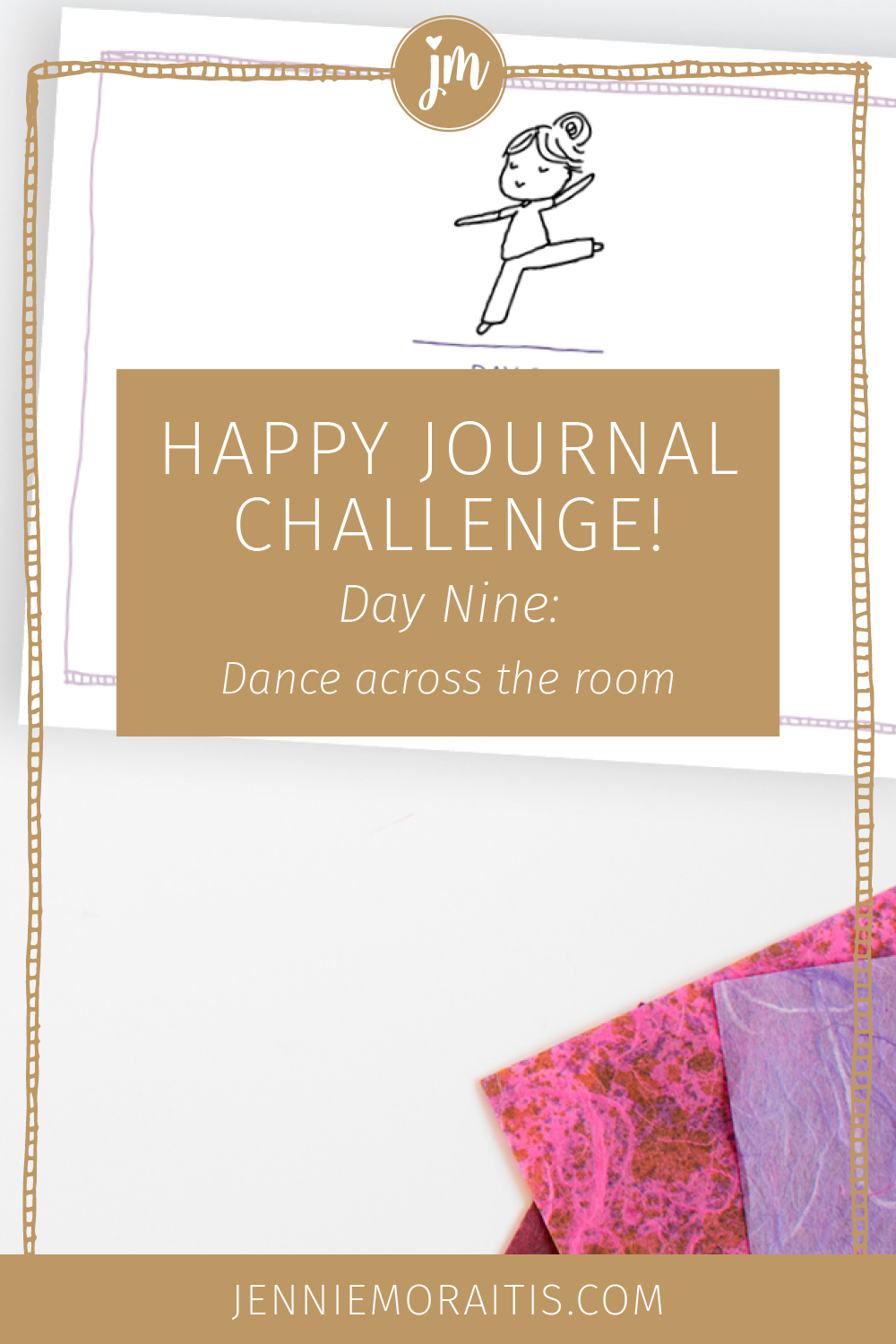 Welcome to day nine of our challenge! Today our challenge is to dance across the room. Now I don't mean you need to stand up at work and pirouette to the coffee maker. You totally can do this one in the comfort and safety of your own home.