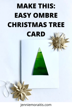 This ombré Christmas tree card is so simple to make you won't believe it! Perfect as a kid's craft and the leftovers make great pieces for collage!