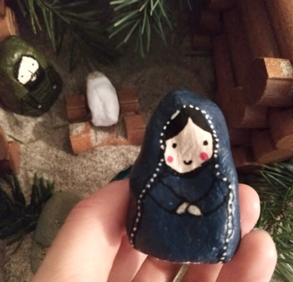 Here's a picture of the Mary figure we made out of salt dough, acrylic paint, and paint pens. She's so cute!
