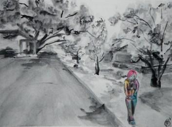 Grey Street, 2012; Medium - Watercolor. Click to enlarge.