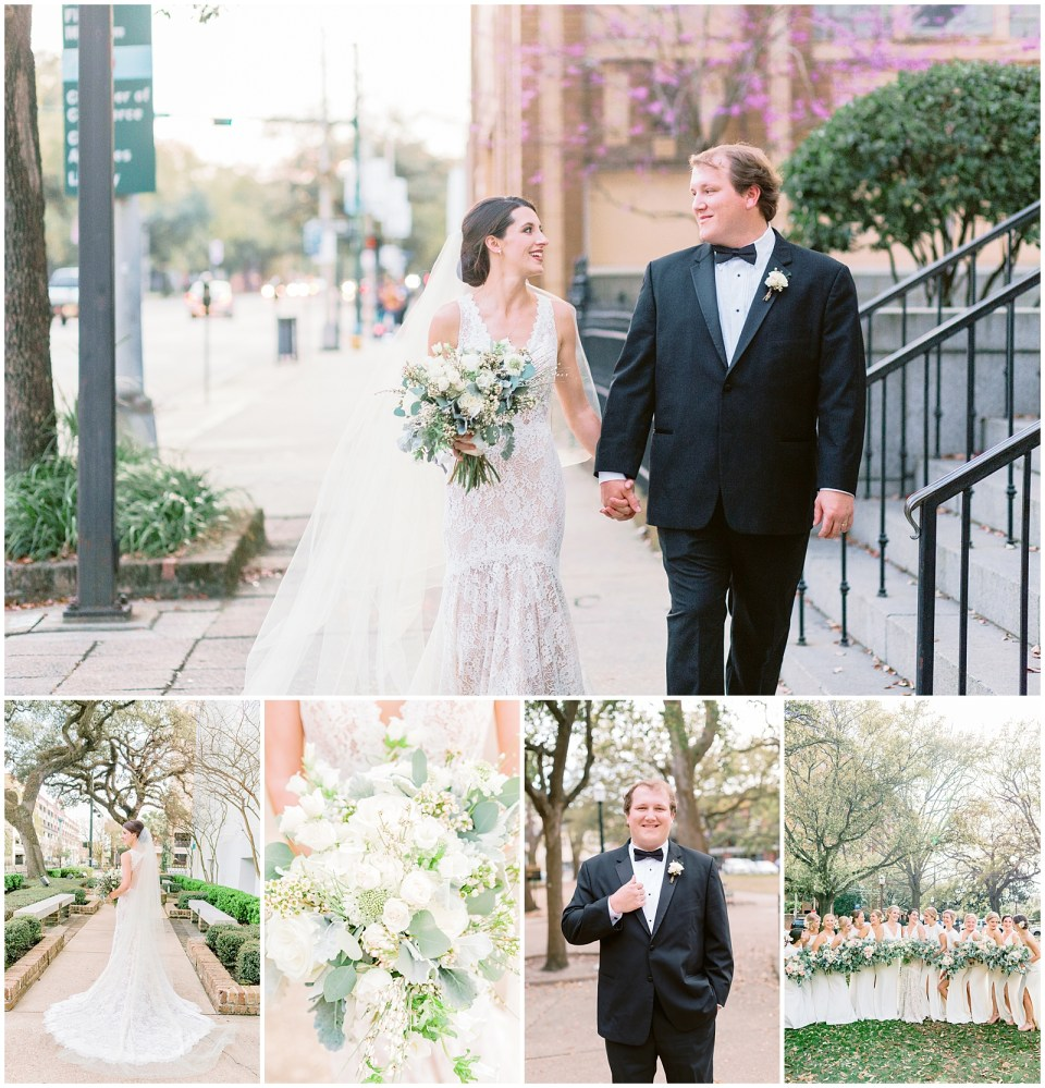 Wedding at The Steeple in Mobile AL. Bride and groom and bridesmaids. All white wedding