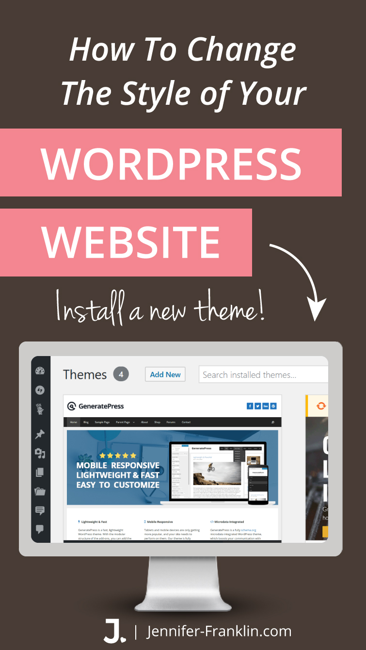 If you are new to WordPress and want to know how to install WordPress themeon your new site, keep reading because in this post I will show you how to instantly update the style of your website at Jennifer-Franklin.com