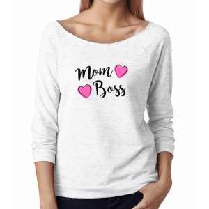 Ladies French Terry 3/4 Sleeve Raglan: Mom Boss logo design on the front of the white shirt. Shop more designs at Jennifer-Franklin.com.