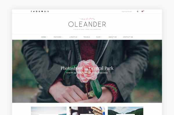 A blog shop WordPress theme: Oleander, is sharp and modern. Features a full-width slider and promo boxes to show off your product images. Shop WordPress themes at Jennifer-Franklin.com.