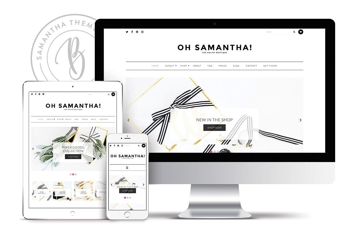 Introducing a clean and minimal eCommerce WordPress Theme by Bluechic: Samantha. Learn more at Jennifer-Franklin.com.