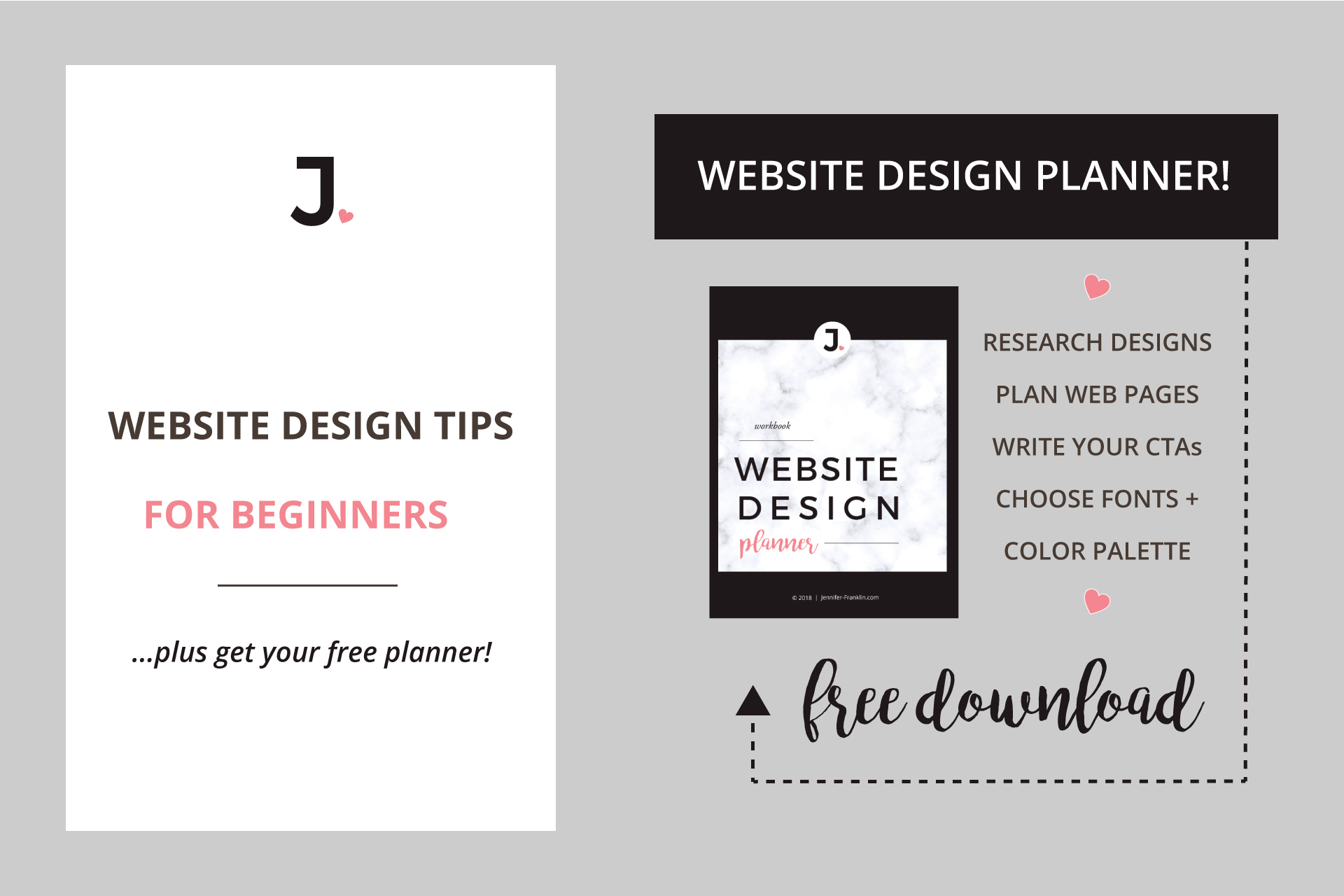 Website Design Tips For Beginners | Website Font Combinations | Website Design Planner | Free Download | Jennifer-Franklin.com