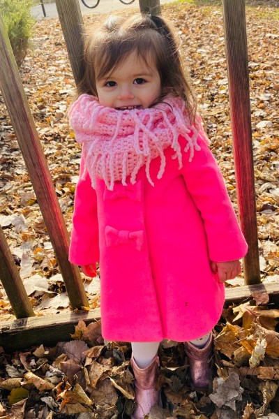 Madeline in pink coat