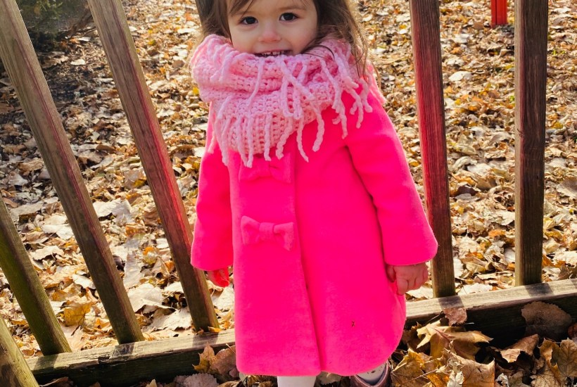 Madeline in pink coat