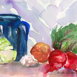 Beet-Still-Life,-by-Jennifer-Bentson,-Watercolor,-6'-x-4'