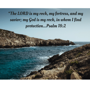 """The LORD is my rock, my fortress, and my savior; my God is my rock, in whom I find protection...Psalm 18-2"