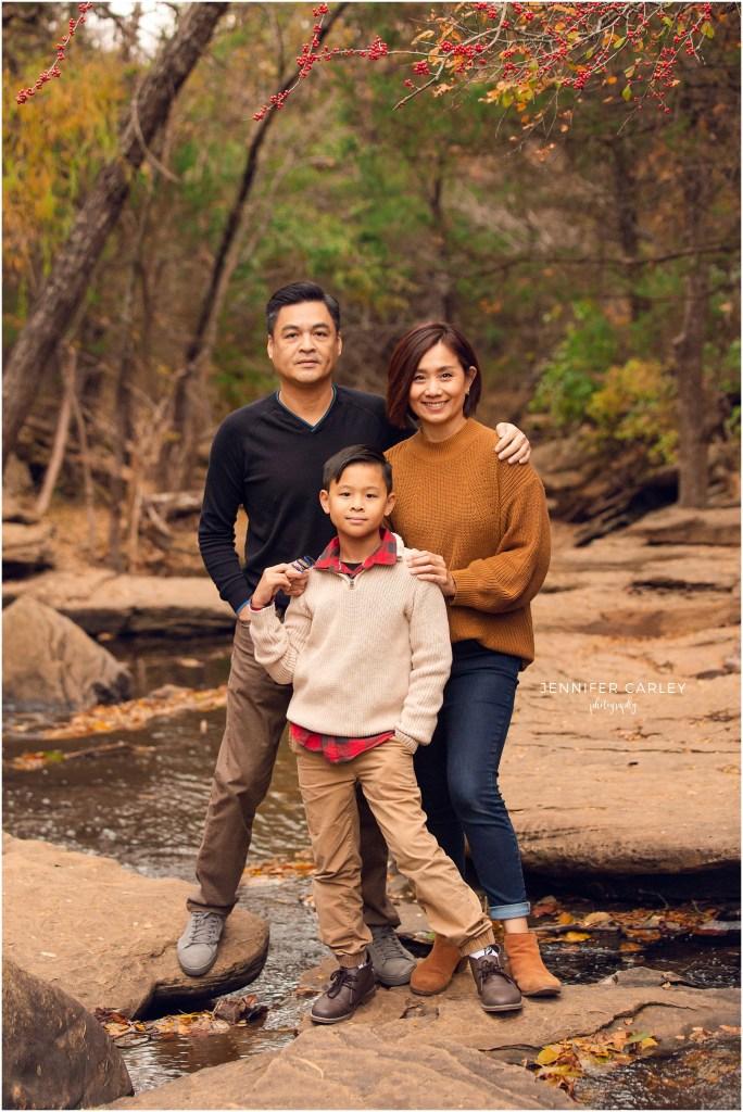 Flower Mound Family Photographer, Stone Creek Park, Family, Fall, Dallas Photographer, Autumn, family of 3, creek, flower mound creek