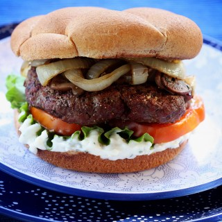 Blue Cheese Burgers with Sherry Vidalia Onions