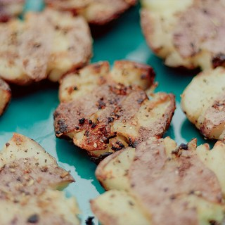 Grilled Smashed Potatoes with Garlic & Rosemary