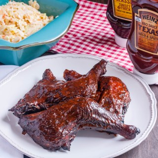 Smoked Chicken Leg Quarters with Heinz BBQ Texas Bold & Spicy BBQ Sauce