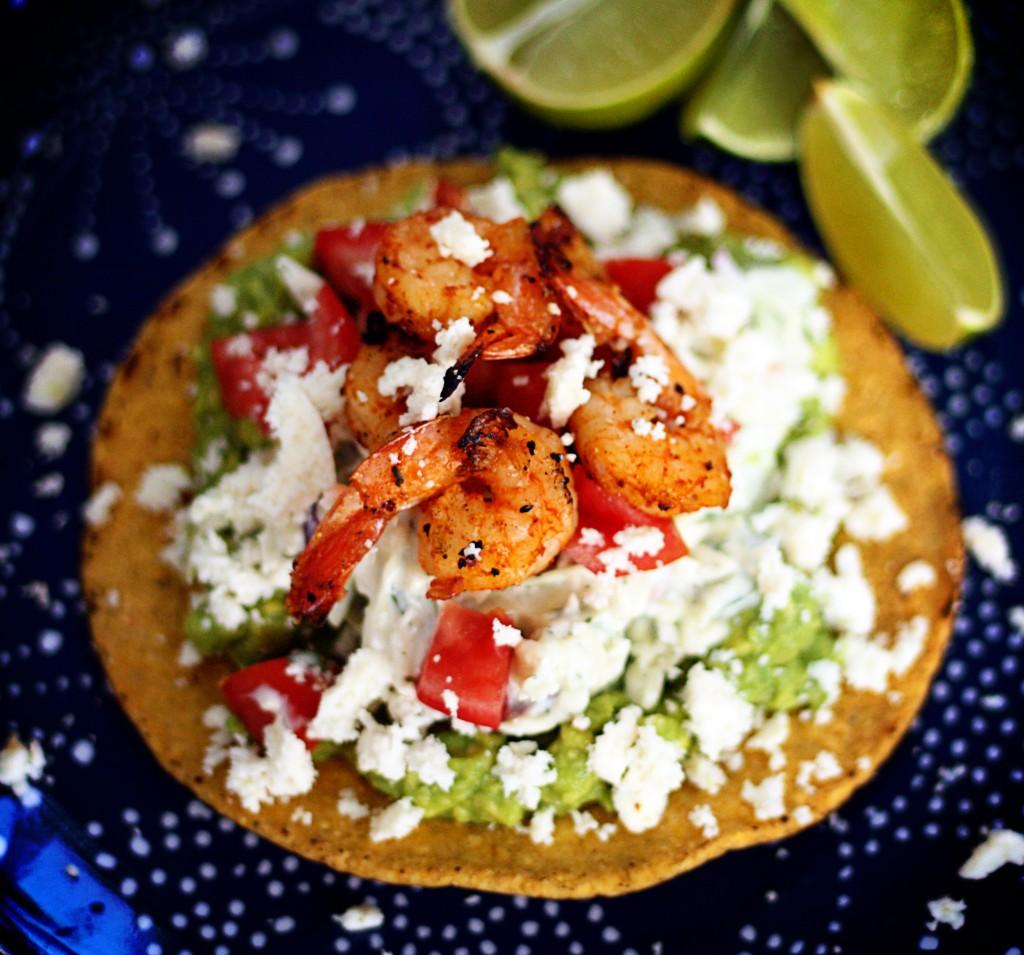 BBQ Grilled Shrimp Tostadas | Jennifer Cooks