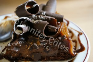chocolate brownie dessert in a Buenos Aires cafe.