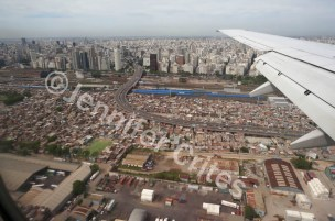 A view of Buenos Aires from the air. Our trip included six flights in and out of the city.