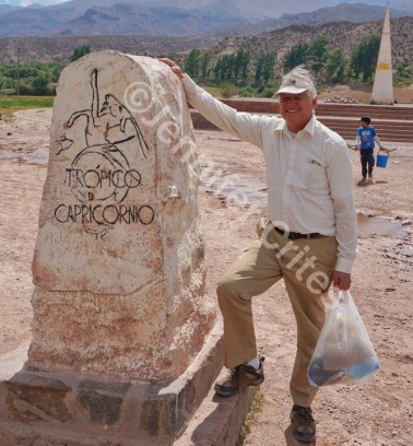 Jerry next to an exact spot on the Tropic of Capricorn line in northern Argentina. Behind him is a giant sundial.