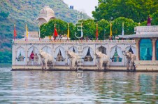 Jag Mandir Palace and marble elephants
