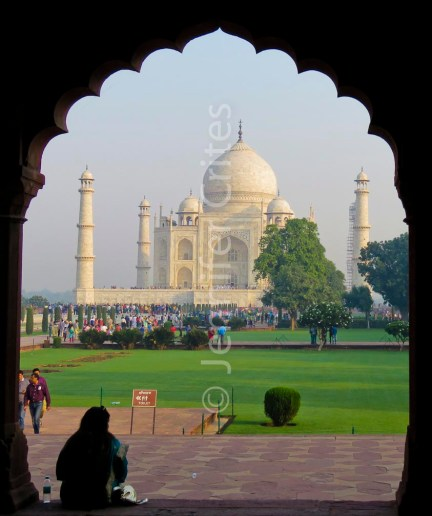 Taj Mahal through archway