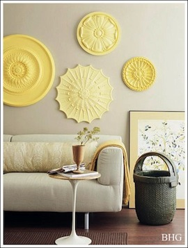 Purchase Ceiling Medallions From The Home Improvement Store, And Paint Them  All The Same Color! Great Idea! Do You Have Some Inspirational Cheap Wall  Decor ...