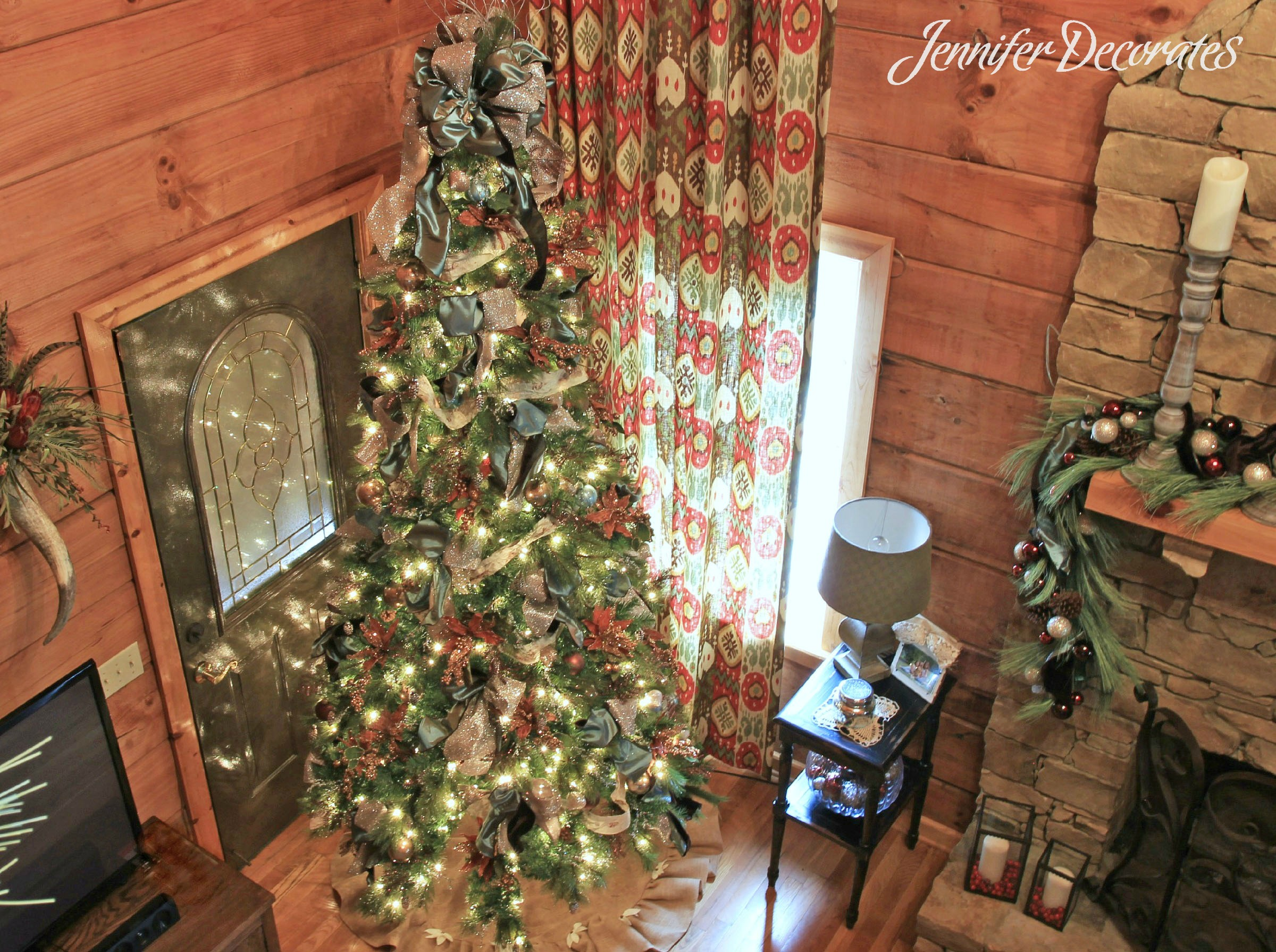 There Are Two Exterior Doors Flanking The Fireplace, So Placing The Tree In  Front Of A Door Worked Out Great. Country Christmas Decorating Ideas ...